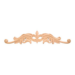 Hardware Resources - Rubberwood Onlays Fleur-de-Lis Onlays and Appliques - Bring visual interest to flat areas with these lovely appliqués. Add your unique touch to a doorway, mantel, window or ceiling. Combine different onlays for endless possibilities and creative whimsy.