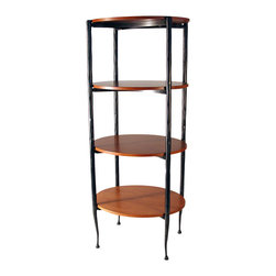 Form & Reform - Vera Oval Shelf - You'll find no shelving more chic for your favorite contemporary setting. A tower of sustainably raised hardwood and sturdy forged steel makes a modern, elegant piece to support and display all manner of objects.