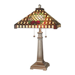 Dale Tiffany - Dale Tiffany 8920/739 Mission 2 Light Table Lamps in Antique Bronze Paint - Mission Rose Table Lamp