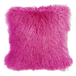Pillow Decor - Pillow Decor - Mongolian Sheepskin Hot Pink Throw Pillow - Mongolian Sheepskin Throw Pillows in twelve luxurious colors.
