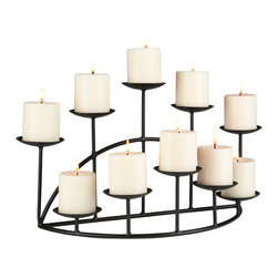 Holly & Martin - Preston Candelabra - This glamorous metal candelabra is the perfect feature to adorn any shelf or mantel. With ten platforms to hold candles and a sturdy base, this metal candelabra will add warmth and a gentle glow to any room in your home. The candelabra is constructed of two rows, five platforms in the front for candles and five platforms for candles in the back.