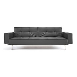 "Innovation USA - ""Innovation USA"" Splitback Black Sofa Bed with Chrome Legs - This modern and rich convertible sofa comes with chromed stainless steel legs, powder-coated steel frame, patented 7"" iComfort mattress, and dual reticulating backrests. Just fold down both backrests and you will convert the sofa into a bed. It is comfortable, stylish and saves your space.    Features:"