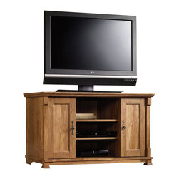 Sauder - Sauder French Mills Panel TV Stand in American Chestnut - Sauder - TV Stands - 413608 -