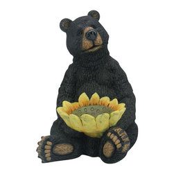 Alpine Fountains - Black Bear Sitting w Sunflower Birdfeeder - Made of Fiberglass. 1 Year Limited Warranty. Assembly Required. Overall Dimensions: 10 in. L x 12 in. W x 15 in. H (8.14 lbs)These cute black bear statuaries will add character to your garden, patio or home. These hand crafted statues give the look of real black bears with features so life like, it will be as if a real black bear had wandered in to your garden.