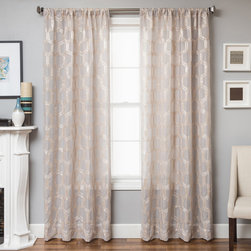 None - Brach Geometric Applique Sheer Curtain Panel - Instantly update your home decor with new window panels. The Brach Geometric Applique Sheer Curtain Panel offers a traditional and contemporary look.