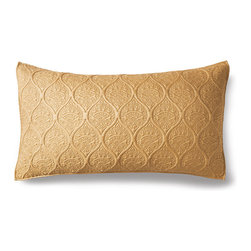 Frontgate - Nicola Baroque Scroll Pillow Sham - Frontgate - Trapunto, a quilting technique that originated in Italy before the 14th century, uses extra fill to create an elegant raised pattern. Silk is naturally hypoallergenic and wrinkle-resistant. Professional dry clean only. The lustrous sheen of silk and rich texture of trapunto quilting in our Nicola Baroque Quilt ensure enduring elegance and a soft hand. A lattice pattern and decorative detailing enrich the 100% silk front, while the cotton filling provides year-round breathability. Finished with piping and a cotton sateen back.. . . Imported.