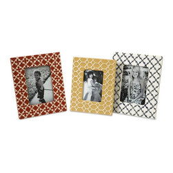iMax - iMax Peters Graphic Photo Frames - Set of 3 X-3-06296 - Bold, graphic patterns and primary colors make this appealing set of frames great for any collection of treasured photos.
