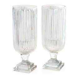Go Home - Pair of Linear Hurricanes - Gorgeous Linear Hurricanes is an amazing addition to your home decor. These hurricanes/candle holders will continue to give you pleasure through out the year.It is crafted with glass and has hand etched finish.Sold as a Pair.