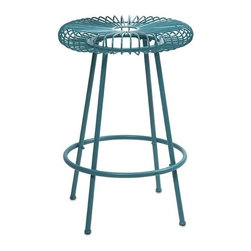 "IMAX - Ellie Blue Metal Stool - Constructed of iron and painted in bright hues, the Ellie metal stools will refresh your entertaining area, or use as a plant stand or small side table. Item Dimensions: (24.75""h x 16.75""w x 16.75"")"