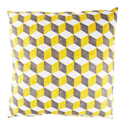 Designer Fluff - Checkmate Pillow, 20x20 - Cool style — cubed! This large pillow has a concealed zipper and knife-edged seams, the pattern expertly matched. Bold design in subtle shades lets it blend beautifully with your contemporary decor.