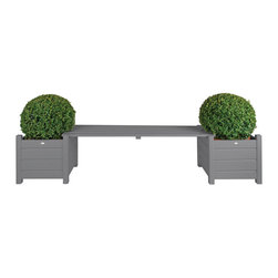 Esschert Design - Planters with Bridge Bench, Gray - Expand in the farm folklore collection to make any garden appeal with a country cottage setting! This bench will make for a convenient seat or a flower pot stand while adding a great addition to any garden or patio area.