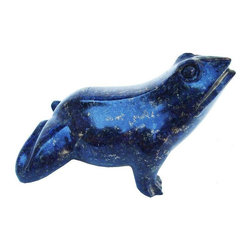 Used Carved Lapis Frog - Dark Lapis Lazuli carved frog, with pyrite inclusions. This exotic piece features impeccable carving, finish and details. The frog is life size (or slightly bigger), and will make a smashing addition to your coffee table or desk.