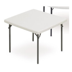 ICEBERG - IndestrucTable TOO 1200 Series 37 in. Square Folding Table in Platinum Finish - Strong and durable. Flexible. Multi-purpose utility. Resin construction. Lightweight. Easy to transport, set-up and store. 2 in. thick top has a soft, 1 in. beveled radius edge. Top supported by uniquely designed steel frame. Heavy duty 1 in. round powder coated steel tube legs with bracing. Legs include non-mar plastic feet. Legs fold into protective cavity for compact storage. Washable, dent and scratch resistant. Accommodates large, evenly distributed loads. Contemporary design. Applicable for indoor or outdoor use. Table top made from blow molded high density polyethylene. Made in USA. Weight Capacity: 600 lbs.. 37 in. L x 37 in. W x 29 in. HThe ultimate in durability, design and function, IndestrucTables are ideal for use in offices, banquets or any temporary work environment. This professional looking, lightweight folding table has many unique features and finishes and will last for many years – and still look as good as new!