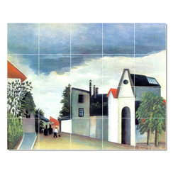 Picture-Tiles, LLC - Street In The Suburbs Tile Mural By Jean Jacques Rousseau - * MURAL SIZE: 24x30 inch tile mural using (20) 6x6 ceramic tiles-satin finish.