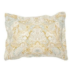 Celeste Damask Sham, Standard, Gold - Our rendition of a delicate 17th-century silk Jacquard is updated with saturated color for lasting beauty. Made of a linen/cotton blend. Duvet cover and sham reverse to self. Duvet cover has interior ties and a button closure; sham has an envelope closure. Duvet cover, sham and insert sold separately. Machine wash. Imported.