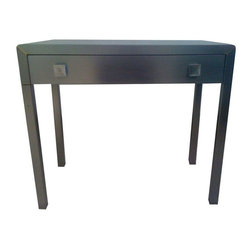 Pre-owned Norman Bel Geddes 1940s Steel Table - This cool Norman Bel Geddes steel table from the 1940's features a miminal drawer, square pulls, square legs, and is all in a gray black matte color! The large side table is stripped down to the metal for an industrial style finish. This table would be a great addition to your livingroom, next to your bed or as an alter table near your entryway!