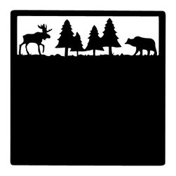 Village Wrought Iron - VWI MMB-22-83 Moose & Bear Message Board Powder Coated - Our Heavy Duty Powder Metal Coated Wrought Iron Message Boards are beautiful, decorative well made and sturdy to use as a magnetic surface in areas where you would like to leave important messages for your loved ones.Measurements are approximate and Silhouettes vary slightly in size.Approximately 12 In. W x 12 In. H .Made in the USA.