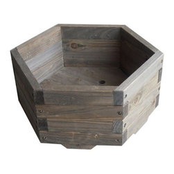 Elegant Home Fashions Hexagon Garden Barrel Planter, Small - This hexagonal wood planter would add a lot of visual interest to any patio or backyard.