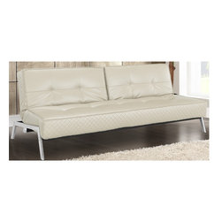 None - Serta Copenhagen Convertible Sleeper Sofa - The Serta Copenhagen Convertible Sleeper Sofa converts to lounge or bed position with ease. The multi-positional, three-seater, ecru bonded leather sofa has a split-back feature.