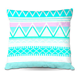 DiaNoche Designs - Pillow Woven Poplin from DiaNoche Designs by Organic Saturation - Bright Turquoi - Toss this decorative pillow on any bed, sofa or chair, and add personality to your chic and stylish decor. Lay your head against your new art and relax! Made of woven Poly-Poplin.  Includes a cushy supportive pillow insert, zipped inside. Dye Sublimation printing adheres the ink to the material for long life and durability. Double Sided Print, Machine Washable, Product may vary slightly from image.
