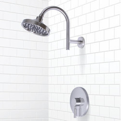 Millen Pressure Balance Shower Faucet With Lever Handle - Brushed Nickel - Add the distinctive modern style of the Millen Pressure Balance Shower Set to your contemporary bathroom. This single lever handle shower faucet set features all-brass construction and a washerless cartridge for years of use.