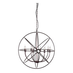 """Zuo - Helvine Rustic Iron Orb Chandelier - The Helvine Rustic Iron Orb Chandelier is simply sophisticated. Large 30"""" concentric rings form a generous sphere around eight lights. Like planets in orbit, the rustic iron rings add motion and drama to a room. The Helvine Rustic Iron Orb Chandelier would gracefully anchor a round dining table, or create a stunning focal point in an entry. The chandelier is suspended by heavy adjustable chain and a coordinating ceiling plate.  The Helvine Rustic Iron Orb Chandelier is an excellent choice for lighting transitional and rustic modern decors. For a smaller 19"""" diameter chandelier, choose the Hazenite Rustic Iron Orb Chandelier."""