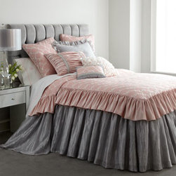 """Horchow - Crinkled Gray European Sham with Ruffle - Could """"Mon Cheri"""" be the dream bed of your little darling? Made in the USA of imported fabrics including rayon-embroidered cotton/linen, cotton/rayon velvet, and crinkled gray polyester. Dry clean. Skirted bedspreads feature an embroidered pink top wi..."""
