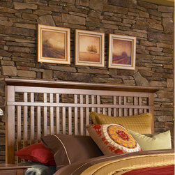"Broyhill� - Artisan Ridge Slat Headboard - The Artisan Ridge Slat headboard is a stylish addition to your bedroom. Traditional arts and crafts styling includes quartered oak veneers. Features: -Gloss Finish: No.-Finish: Warm nutmeg.-Powder Coated Finish: No.-Non Toxic: No.-Scratch Resistant: No.-Adjustable Height: No.-Nailhead Trim: No.-Lighting Included: No.-Wall Mounted: No.-Reversible: No.-Media Outlet Hole: No.-Built In Outlets: No.-Hidden Storage: No.-Freestanding: No.-Frame Required: Yes.-Frame Included: No.-Swatch Available: No.-Product Care: Never allow water or damp items to sit on your headboard including cleaning cloths, sponges, etc. Never allow alcohol-based products including some cleaners, nail polish and perfumes to come in contact with the wood. They can dissolve the furniture finish on contact, requiring professional repairs. Chemicals in plastic may soften and injure the finish if exposed over a long period of time. Avoid placing hot objects on any furniture surface. Prolonged exposure to direct sunlight can fade the finish, while extreme temperature and humidity changes can cause cracking or splitting. Dust frequently with a clean, damp lint-free cloth to remove abrasive buildup which can damage the finish over time. Occasionally polish with a high-quality non-silicone furniture polish every few months to enhance the beauty of the multi-step finish. Spray the polish onto a clean cotton cloth, apply it to the furniture, and then buff with a second clean, dry cotton cloth. Note that any polish may make a low sheen finish appear more glossy. Avoid oily polishes and waxes. Remove sticky accumulations of skin oils to avoid professional repairs. Wipe the area with a clean cotton cloth dampened with mineral spirits, then buff with a second clean cotton cloth. Touch up small marks and scratches with a marker, scratch remover, or touch-up stick. These can be purchased at any paint store..-Recycled Content: No.Specifications: -Green Guard Certified : No.Dimensions: -Overall Depth - Front to Back (Size: California King): 3"".-Overall Depth - Front to Back (Size: King): 3"".-Overall Depth - Front to Back (Size: Queen): 3"".Assembly: -Assembly Required: Yes.-Additional Parts Required: No.Warranty: -Product Warranty: Limited."