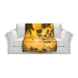 DiaNoche Designs - Fleece Throw Blanket by Mark Watts - Tropical Getaway - Original Artwork printed to an ultra soft fleece Blanket for a unique look and feel of your living room couch or bedroom space.  DiaNoche Designs uses images from artists all over the world to create Illuminated art, Canvas Art, Sheets, Pillows, Duvets, Blankets and many other items that you can print to.  Every purchase supports an artist!