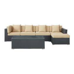 """LexMod - Signal 5 Piece Outdoor Patio Sectional Set in Espresso Mocha - Signal 5 Piece Outdoor Patio Sectional Set in Espresso Mocha - Engage adaptivity with the Signal Outdoor Set. Embed your environs with clues for attaining allostasis with an alert orange and white design that focuses your natural acumen. Command success in progressive steps with a piece that neutralizes outside distractions. Set Includes: One - El Outdoor Wicker Patio Chaise Lounge One - El Outdoor Wicker Patio Coffee Table One - El Outdoor Wicker Patio Right Arm Section Two - El Outdoor Wicker Patio Armless Sections For entertaining or everyday use, Powder coated aluminum frame , UV resistant synthetic rattan, Water resistant cushions and base , Easy zipper for cleaning , Easy Assembly Required Overall Product Dimensions: 120""""L x 53""""W x 25""""H Chaise Lounge Dimensions: 30""""L x 53""""W x 13""""H Coffee Table Dimensions: 49""""L x 21""""W x 17""""H Armless Section Dimensions: 30""""L x 30""""W x 25""""H Left Arm Section Dimensions: 30""""L x 30""""W x 25""""H Cushion Depth: 4""""H Seat Height: 13""""H - Mid Century Modern Furniture."""