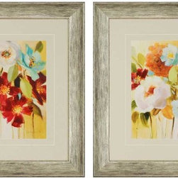 Paragon Decor - Promise of Giverny Set of 2 Artwork - An array of flowers in sun-drenched colors appeals to the floral enthusiast.