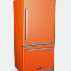 Big Chill Pro Fridge in Orange - Bottom Freezer