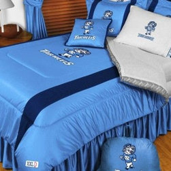 Sports Coverage - North Carolina Tarheels NCAA Bedding - Sidelines Comforter and Sheet Set Combo - This is a great North Carolina Tarheels NCAA Bedding Comforter and Sheet set combination! Buy this Microfiber Sheet set with the Comforter and save off our already discounted prices. Show your team spirit with this great looking officially licensed Comforter which comes in new design with sidelines. This comforter is made from 100% Polyester Jersey Mesh - just like what the players wear. The fill is 100% Polyester batting for warmth and comfort. Authentic team colors and logo screen printed in the center.   Microfiber Sheet Hem sheet sets have an ultrafine peach weave that is softer and more comfortable than cotton.  Its brushed silk-like embrace provides good insulation and warmth, yet is breathable.  The 100% polyester microfiber is wrinkle-resistant, washes beautifully, and dries quickly with never any shrinkage. The pillowcase has a white on white print beneath the officially licensed team name and logo printed in vibrant team colors, complimenting the NEW printed hems. The Teams are scoring high points with team-color logos printed on both sides of the entire width of the extra deep 4 1/2 hem of the flat sheet.  Includes:  -  Flat Sheet - Twin 66 x 96, Full 81 x 96, Queen 90 x 102.,    - Fitted Sheet - Twin 39 x 75, Full 54 x 75, Queen 60 X 80,    -  Pillow case Standard - 21 x 30,    - Comforter - Twin 66 x 86, Full/Queen 86 x 86,