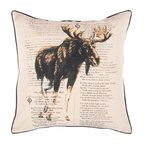 "Surya - Surya HH-119 18"" x 18"" Poly Fiber Pillow Kit - A strong moose is displayed in front of text on this pillow. Colors of khaki, coal black, and dark goldenrod accent this decorative pillow. This pillow contains a poly fill and a zipper closure. Add this 18"" x 18"" pillow to your collection today."