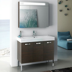 ACF - 37 Inch Bathroom Vanity Set - Set Includes: . Vanity Cabinet (3 doors). Fitted ceramic sink (39.4 inch x 17.7 inch ). Lighted Medicine Cabinet (W 35.4 inch x H 29.1 inch ). Kit of 4 polished chrome feet (7.9 inch ). Vanity Set Features:. Vanity cabinet made of engineered wood. Cabinet features waterproof panels. Available in Wenge, Grey Oak Senlis, Larch Canapa, Glossy White. Cabinet features 3 doors. Faucet not included. Perfect for modern bathrooms. Made and designed in Italy. Includes manufacturer 5 year warranty.