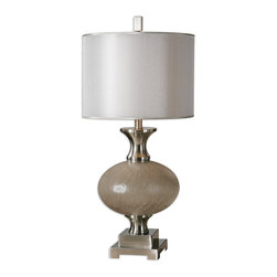 Uttermost - Crepitava Crackled Glass Lamp - Va-va-voom! This glamorous lamp isn't shy about embracing its sensuous curves. In fact, after you switch it on, you and other admirers will also see that it's full of charm and character, proving it's more than just a pretty shape.
