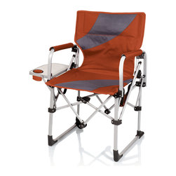 Picnic Time - Meta Chair - Burnt - The Meta Chair by Picnic Time is a portable folding chair that features a side table, recessed cup holder, full-length zipper pocket on backrest, and security loops on the chair to secure an umbrella to the chair. With a steel-reinforced aluminum frame and durable polyester seat and backrest, the Meta Chair folds to almost one-quarter of its fully-open size for ultra-portability.