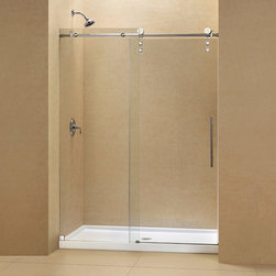 "Dreamline - Enigma-Z Fully Frameless Sliding Shower Door & SlimLine 36"" x 60"" Shower Base - The ENIGMA-Z sliding shower door and coordinating SlimLine shower base combine to create a convenient kit that completely transforms a shower space. The ENIGMA-Z sliding shower door shines with a Fully frameless design, premium glass and high functioning performance. The striking stainless steel hardware includes innovative wheel assemblies that glide effortlessly across the perfectly engineered track. A coordinating SlimLine shower base completes the picture with a sleek low profile design. Achieve the look and feel of custom glass at an exceptional value with this efficient DreamLine shower kit."