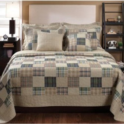 Greenland Home Fashions Oxford Quilt Set - Some bedding seems like it's just waiting for an HGTV camera crew to walk by. Case in point: the Greenland Home Fashions Oxford Quilt Set, an ensemble all about making sure you've got appealing, comfortable style whether you're in bed or out. This thick cotton comforter features a bordered pattern of multicolored plaid squares that's echoed on the matching shams. On the reverse of the comforter is an all-over plaid design that gives you a second option when you're making the bed. Machine-quilting offers greater durability and a richer texture, and no matter what size you choose, each comforter sports an oversized design that makes it ideal for today's deeper mattresses. Each piece is pre-washed and pre-shrunk, and the set is offered in multiple sizes.Product Dimensions:Twin comforter: 88L x 68W in. Full/queen comforter: 90L x 90W in.King comforter: 95L x 105W in.Small sham: 20L x 26W in.Large sham: 20L x 36W in.About Greenland Home FashionsFor the past 16 years, Greenland Home Fashions has been perfecting its own approach to textile fashions. Through constant developments and updates - in traditional, country, and more modern styles – the company has become a leading supplier and designer of decorative bedding to retailers nationwide. If you're looking for high-quality bedding that not only looks great but is crafted to last, consider Greenland.The Oxford quilt set, with a variety of colorful plaid squares, bordered within a coordinating ground, reverses to an all-over neutral plaid. This quilt compliments a variety of colors popular in the home or dorm. Machine quilted for durability. Oversized for better coverage on today's deeper mattresses. Prewashed and preshrunk. All cotton face, back and fill. Set includes: Quilt and two pillow shams (one sham per twin set). Dimensions: Twin set includes one 68x88 quilt and one 20x26 pillow sham; Full/Queen set includes one 90x90 quilt and two 20x26 pillow shams; King set includes on