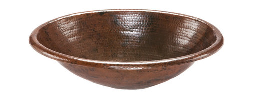 Premier Copper Products - Oval Self Rimming Hammered Copper Sink - Uncompromising quality, beauty, and functionality make up this Premier Oval Self Rimming Hammered Copper Bathroom Sink.