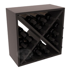 "Wine Racks America - 24 Bottle Wine Storage Cube in Premium Redwood, Black Stain + Satin Finish - A wine rack focused on flexibility; buy 1 or buy 100. Perfect for stacking, filling small spaces, and converting that ""underneath"" space into wine storage. Mix and match finishes to illustrate your true wine-lover's spirit or contrast colors for a modern wine rack twist."