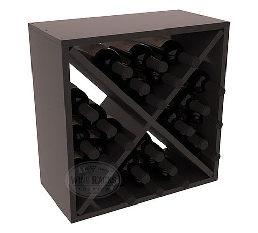"""Wine Racks America - 24 Bottle Wine Storage Cube in Premium Redwood, Black Stain + Satin Finish - A wine rack focused on flexibility; buy 1 or buy 100. Perfect for stacking, filling small spaces, and converting that """"underneath"""" space into wine storage. Mix and match finishes to illustrate your true wine-lover's spirit or contrast colors for a modern wine rack twist."""