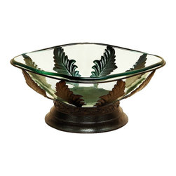 Benzara - Glass Centerpiece Bowl Set Metal Copper Leaf Petal Accents Home Decor - Glass centerpiece bowl with sleek design set in metal base in antique copper finish with leaf petal accents home decor