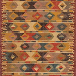 Jaipur Rugs - Flat-Weave Tribal Pattern Jute Red/Multi Area Rug - The Bedouin collection is hand woven in wool and jute . It has a rustic ,authentic look inspired by traditional kilimm patterns in rich rusts, blues and golds. The collection has a vintage, eclectic look that can easily be mixed and matched with its coordinating pillow and pouf collection. Origin: India