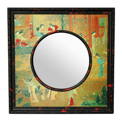 "Oriental Furniture - 20"" Village Scene Mirror - A unique, distinctive Asian home decor accent, with a beautiful, antiqued color palate. Well crafted design, with a square mirror frame accented with a distinctive round shaped mirror reveal. The trim is finished with a lovely, rustic black on red distressed lacquer finish, the frame decorated with Chinese art design decoupage applique."
