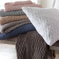 Frontgate - Majorca Throw by Peacock Alley - 100% cotton. Machine washable. Imported. As comfortable as your most beloved sweater, the cotton-knit Majorca Throw will become your sofa's dream. Exceptionally soft and delicate, this throw thoroughly improves lounging and snuggling. . . .