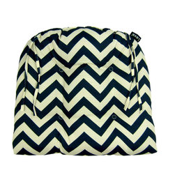 Chevron Night Dining Chairpad (Indoor/Outdoor) - 100% polyester cover and fill.  Suitable for use indoors or out.  Made in USA.  Spot Clean only