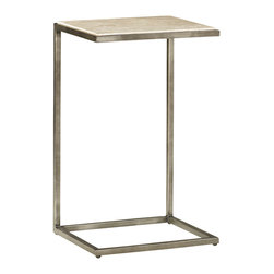 Hammary - Hammary Modern Basics Accent Table with Textured Bronze Base - Spice up your living room with a collection that offers style for modern living. This occasional table collection consists of a combination of Natural Travertine and Bronze metal for a sleek, contemporary look. Featuring simple silhouettes of circles, rectangles, and squares, you can be sure that this collection can fit in with just about any style decor. Simple, straight lines make up the leg supports, while a simple palette of travertine makes up the table tops. What a wonderful way to bring in an element of modern living. This lovely accent piece is a very way to bring modern charm into your living room. This small size rectangular accent table features an hour-glass shaped Bronze Metal base that provides a neat visual interest. Gracing the top of the table is a Natural Travertine surface for a sophisticated look.