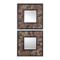 Grace Feyock - Grace Feyock Barros Transitional Square Wall Mirror X-26070 - Frame is coconut shell layered in a basket weave design with distressed black inner and outer edges. Mirror is beveled.