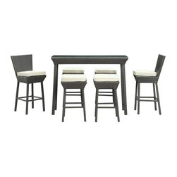 Modway - Napa 7 Piece Pub Set in Espresso White - Return home to fresh brewed ale and vintage wines with a patio set brimming with piquancy. Create your own ambient caf as you welcome in ultimate aspirations and momentary encounters. Contemporary rattan stools, powder coated aluminum frames and all-weather white cushions outfit a dcor made for thoughtful discussions.